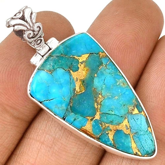 Copper Blue Turquoise Sterling Silver Pendant 2