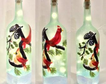 Cardinal Bottle Light, Winter Cardinal Bottle Light, Hand Painted Bottle, Male and FemaleCardinal, Gift for Nature Lovers, Gift