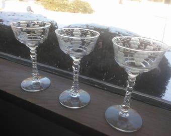 Beautiful Set of Three Cordial Glasses - Vintage Wine Glasses - Vintage Etched Cordial Glasses - Cordials - Wine Glasses - Stemware