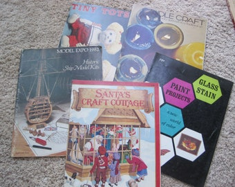 Lot of 5 - Felting, Historic Ship Model Kits, Paint Projects, Glass Staining, Doll Making, Candle Crafting - All Vintage
