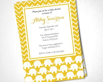 Marching Yellow Elephants Chevron Baby Shower Invitation DIY Printable