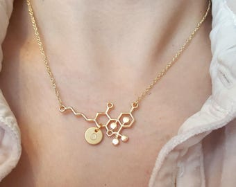 THC Necklace,THC molecule necklace, molecule necklace, chemistry necklace, Initial Disc Choker ,Hand Stamped Necklace