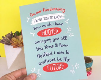 Funny Anniversary Card, Anniversary card for husband, for wife, Anniversary card for boyfriend, girlfriend, Love card,