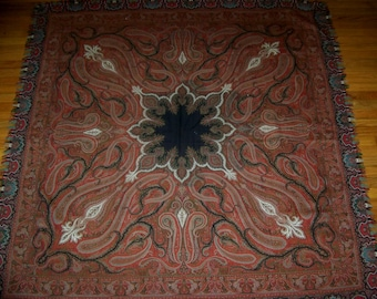 AWESOME ANTIQUE Wool Hand Loomed PAISLEY Shawl