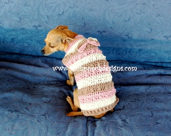Instant Download Crochet Pattern - Nubby Striped Dog Sweater - Small Dog Sweater