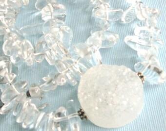 Druzy Necklace - Quartz, Druzy Jewelry