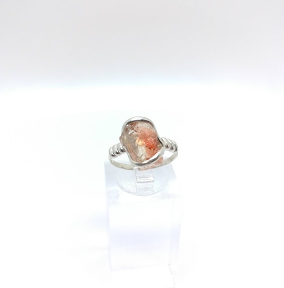 Red Oregon Sunstone Ring | Raw Crystal Ring | Raw Sunstone Ring | Sterling Silver Ring Sz 6 | Boho Luxe Ring | Raw Stone Ring