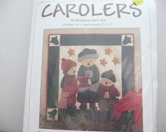 Carolers Wallhanging Quilt Kit - Christmas Quilt Kit - Patchwork Christmas Quilt - Christmas Carolers Quilted Wallhanging