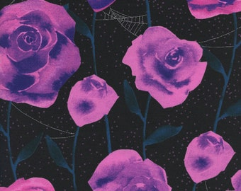 Cotton + Steel Eclipse - Purple Roses in Black with Metallic - Unbleached Quilting Cotton - Spider Web Fabric - Halloween Fabric