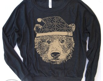 Womens HOLIDAY BEAR Tri-Blend Pullover Slouchy T-Shirt hand screen printed S M L (+ Color Options) yoga gym fitness tee