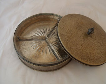 Bernard Rice's Sons Hammered Metal Dish w/Divided Glass Insert #4310 Apollo Silver Plate