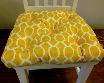 Tufted chair pad seat cushion, Sydney corn yellow and white cotton