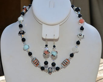Artisan Necklace and Earrings Set featuring Lampwork Glass Beads by Amy Cornett, Swarovksi Crystal
