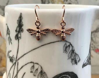 Rose Gold Bee Earrings, Rose Gold Earrings, Bee Jewelry, Bee Earrings, Rose Gold Jewelry, Pink Earrings, Gifts for Her.