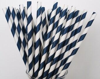 NAVY BLUE & White Stripe Paper Straws / Paper Drinking Straws / Cake Pop Sticks Set of 25 Paper Straws