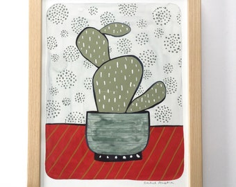 SALE // Modern Cactus Houseplant Painting// 10x13 Framed Painting