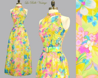 Saks 60s Sequin Silk Party Dress XS S Vintage Colorful Floral Maxi Gown