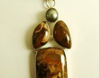Jasper Agate Silver Pendant Necklace