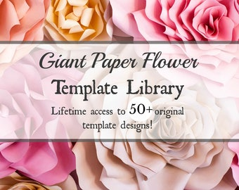 Giant Paper Flower Template Set of 50, Large Paper Flower Templates, Printable PDF Flower Templates, SVG Cut Files, Wedding Backdrop