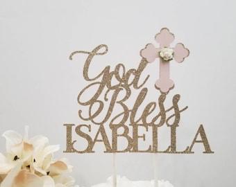 Girl God Bless Baptism Cake topper-Girl Dove Cross Baptism cake topper-God bless cake topper-Girl Baptism cake topper-God Bless cake topper