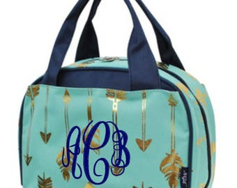 Monogram Gold and Mint Arrow Lunch Bag Navy Trim