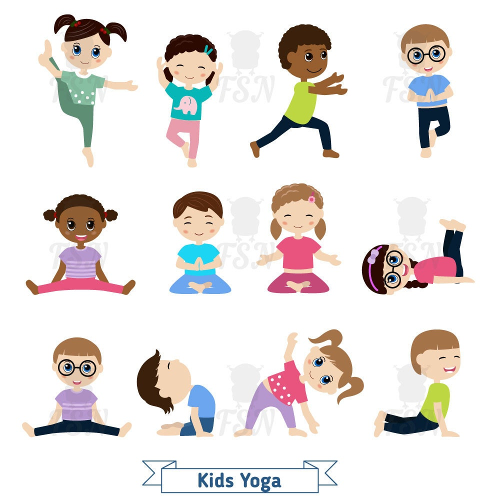 Kids Doing Yoga In Different Positions Digital Clipart