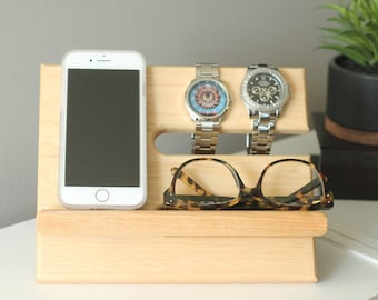 Premium Hickory Valet Gorgeous Wood Reclaimed Valet Universal iPhone Galaxy Charging Stand Dock Graduation Father's Day Fitbit Jawbone