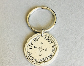 Not all who wander are lost thick pewter coin keychain// graduation gift// hiking// free spirit// outdoors love// simple gift// circle disc