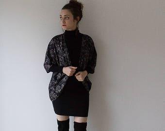 Black Ornate Glitter Batwing Kimono // Women's // Cardigan // Gifts For Her // Handmade// Size 6,8,10 & 12