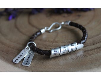 Sterling Coil and Leather Bracelet