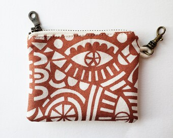Zippered Coin Pouch: Organic Screenprinted Fabric in Copper