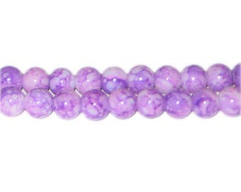 8mm Amethyst-Style Glass Bead, approx. 55 beads