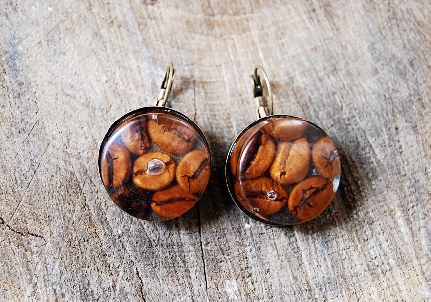 Coffee bean resin earrings. Handmade resin statement earrings.