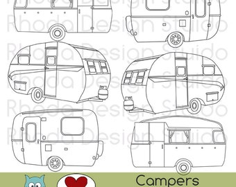 Vintage Campers Digital Clip Art Retro Camp Trailers stamps