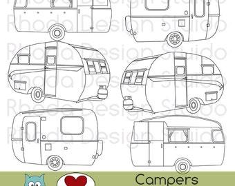 Vintage Campers Digital Clip Art Retro Camp Trailers Stamps