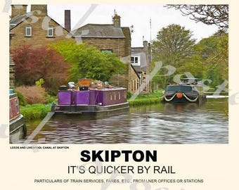 Vintage Style Railway Poster Skipton Yorkshire A3/A2 Print