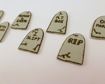 24 Cupcake topper headstones, gumpaste gravestones, sugar tombstones