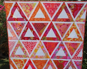 Orange and Pink Modern Lap Quilt