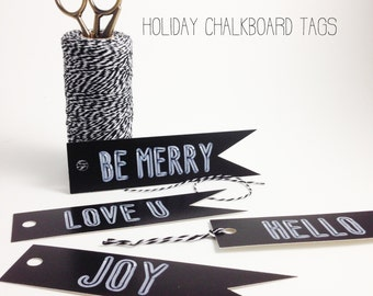 Christmas Gift Wrap- Chalkboard Gift Tags, Christmas Tags, Holiday Gift Wrap, Preprint Chalkboard Tags, Set of 16 W/ Twine