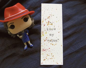 I Know My Value | Peggy Carter | Agent Carter Bookmark