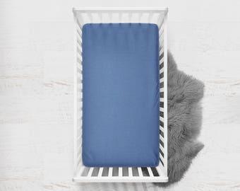 Fitted Crib Sheet Hyacinth. Ready to Ship. Flat Crib Sheet. Toddler Sheet. Baby Sheet. Solid Blue Fitted Sheet. Crib Bedding. Blue Sheet.