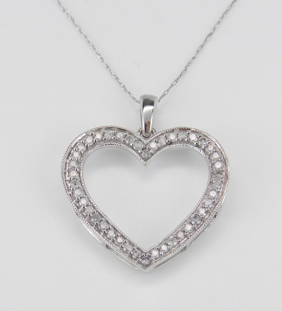 Diamond heart pendant necklace white gold chain 18 te gusta este artculo aloadofball Choice Image