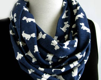 Dog scarf - Blue and white infinity scarves - Loop scarf - White terrier - Westie