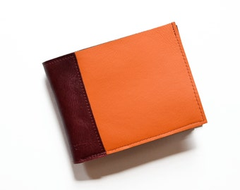 Colorful Mens Wallet, Minimalist Leather Bifold, Slim Card Cash Money Billfold for Gents, Unique Cool Gift Idea Man - The Frankie in Orange