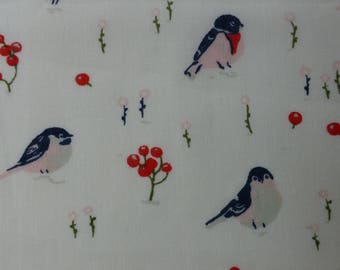 1/2 Yard Organic Cotton Fabric - Birch Fabrics Little - Love Birds Poplin