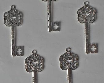 5 x Stunning Huge Tibetan Style Alloy Big Key Pendant Beads/Charms Vintage Steampunk- 60mm CH17