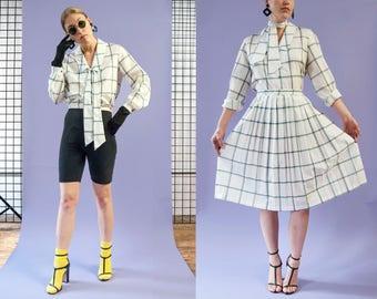 50s style by 80s Paul Alfred LTD. white, green, & blue 2-piece ascot secretary dress, size small-medium