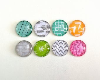 Happy Place - set of 8 glass magnets - fun and colorful designs