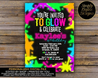 Glow Party Invitation - Paint Party Invitation