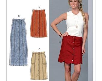McCall's Pattern M7392 Misses' Straight or Scalloped-Hem, Gored Skirts